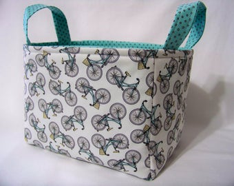 PK Fabric Basket in Bicycles on White - Hipster on the Go Collection - Storage Basket - Diaper Caddy - Ready To Ship - Reversible