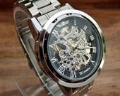 Classy Steampunk Mechanical Wrist Watch with Stainless Steel Wristband - Men - Groom - Groomsmen - Watch - Item MWA501