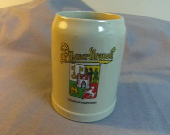 """Gerz Pottery Stein for Pilsner Urquell Beer, Czechoslovakia, Made in West Germany .5L, 5"""" tall"""