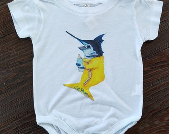 Marlin baby hand printed Onesie infant creeper sizes 6 or 12 months fishing gift baby Unisex