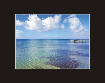 Shallow Pamlico Sound Photographic Print matted in black North Carolina