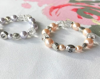 Twin ID Bracelets - Twin Bracelets - Newborn ID Bracelets - Twin Girls Bracelets Set of Two - Czech Glass - Swarovski Crystal Pearl