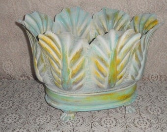 Large Metal Planter Painted in Shades of Blue Green Yellow and White Great For Towels Magazines