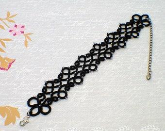 Black Lace Bracelet-Lace Bracelet-Black Bracelet-Statement Bracelet-Beaded Bracelet-Chic Bracelet-Black Jewelry-Gift for Her-Tatting Lace