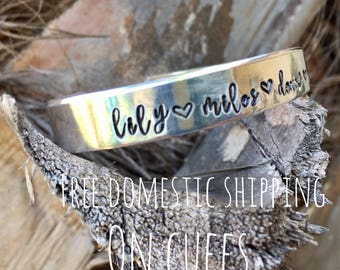 Personalized custom cuff bracelet- free domestic shipping-bracelet with names- personalized jewelry- hand stamped-gift for friend woman