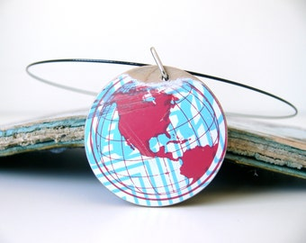 Recycled skateboard round wooden necklace-Re-purposed skateboard teal and natural maple pendant with world map graphic