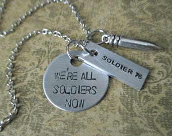 we're all soldiers now - hand stamped overwatch soldier 76 inspired necklace with bullet charm