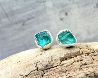 Raw Apatite Stud Earrings Bezel Set Silver Vibrant Teal Blue-Green Fresh Summer Water Geometric Boho Simple Rough Gemstone - Caribbean Cubes