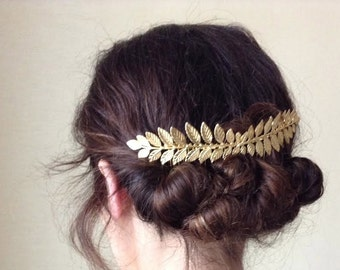 Double Athena Bridal Hair Comb, Boho, Bohemian, Grecian Leaves, Gold Plated, Bridal Hair Accessoried, Wedding Comb, Goddess Hair Accessories