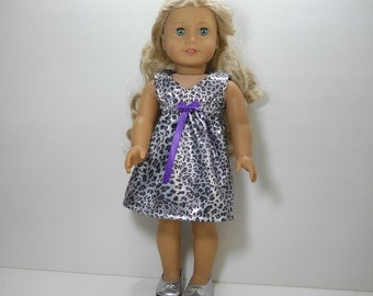 18 inch doll clothes made to fit dolls such as American Girl, Silver Animal Print Dress, 02-1882