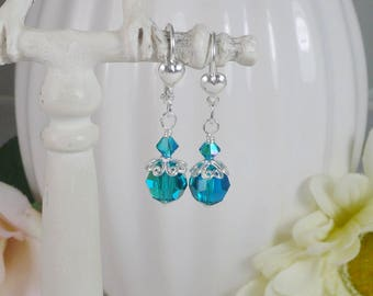 Blue Zircon Earrings Swarovski Sterling Silver Filigree Gifts for Her