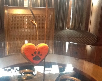Carved heart with paw print