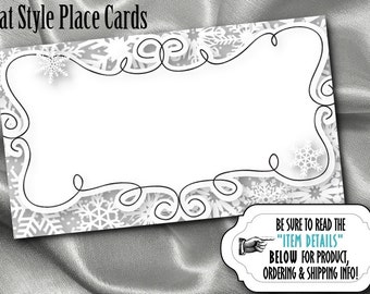 10 Flat Style Place Cards, Buffet Label Cards, Name Cards, Winter Snowflakes, Bridal Shower, Wedding, Birthday, Baby Shower, Silver, Gold