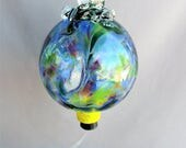 Hand Blown Art Glass Hummingbird Feeder