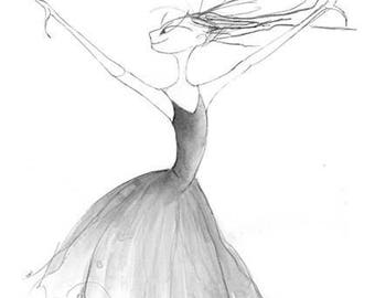 Drama Dance Ballet Art-Sleeping Beauty Ballet-Evil Fairy Witch-12x18Print-Ballerina Dancer Actress-Diva-Black White Grey-Watercolor-WallArt