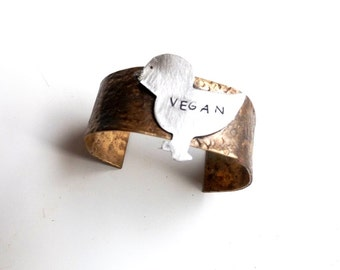vegan cuff bracelet//cuff bracelet//bracelet//brass//brass cuff//meat free//animal lovers//handstamped//vegan//jewelry//metal//cuff
