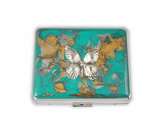Weekly Pill Box Butterfly Inlaid in Hand Painted Teal Enamel Art Nouveau Inspired Personalized and Color Options
