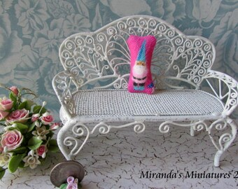 ooak dollhouse pillow Miniature Gnome Pillow roombox cottage pink