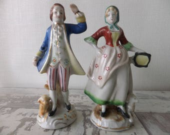 Vintage Porcelain French Victorian Lady and Man with Sheep Figurines Pair Display