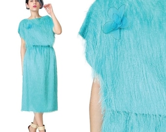 30% OFF SALE 1980s Turquoise Dress Fuzzy Hairy Furry Two Piece Dress Sparkly Eyelash Dress  Matching Blouse and Skirt Outfit Set (S/M)