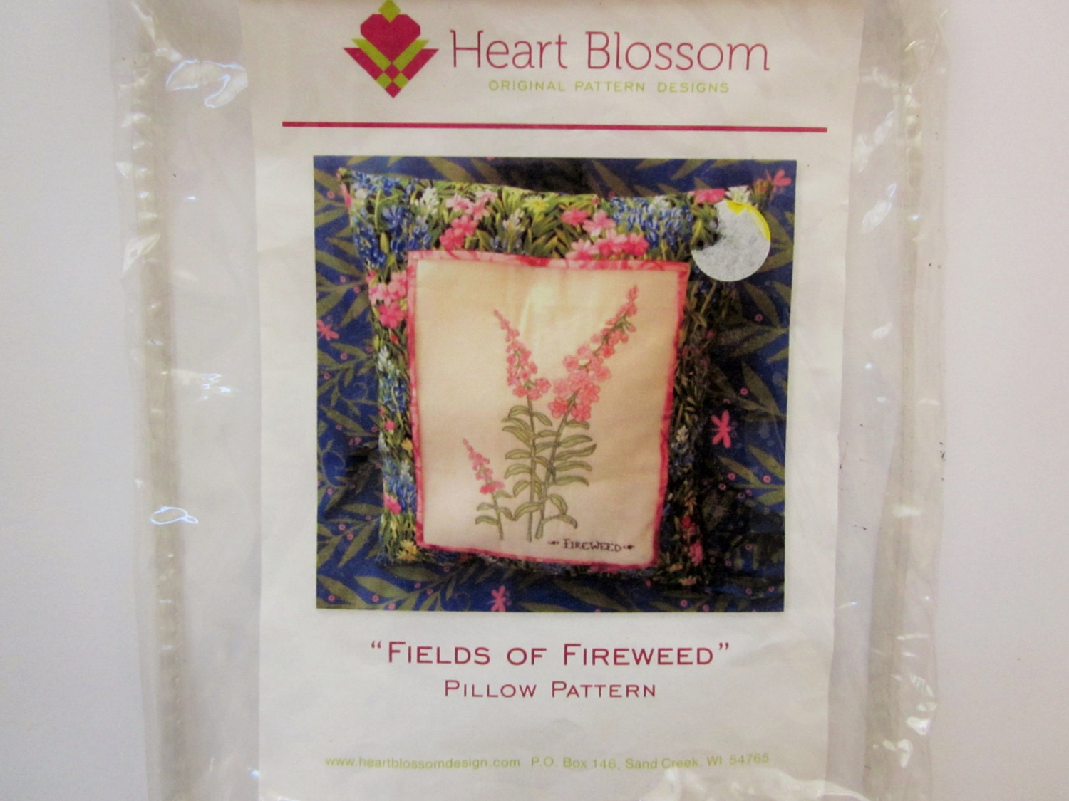 Heart blossom fields of fireweed pillow kit sewing and