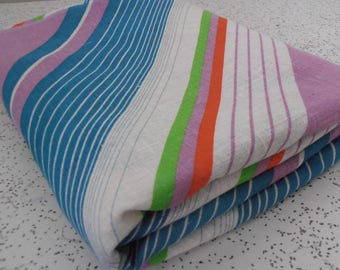 stripes in mauve and teal...vintage fabric yardage