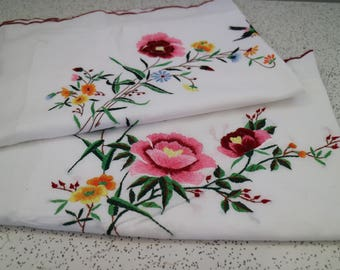 birds and flowers...pair of vintage embroidered cotton pillowcases