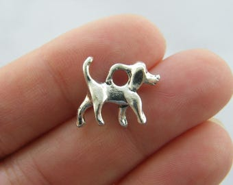 8 Dog charms antique silver tone D66
