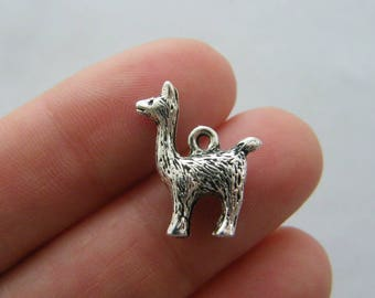 6 Llama charms antique silver tone A560