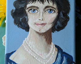 French Woman Portrait Art work Painting  on Canvas