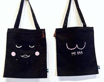Kawai Moon or No Bra Hand-painted Black Tote Bag with Zipper and Phone Pocket