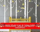 Holiday Sale - Birch Tree Birds Wall Sticker Set, Baby Nursery Wall Decals, Nursery Wall Stickers, Tree with Birds Decal, Girls Nursery, ...