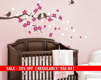 Holiday Sale - Cherry Blossom Branch with Birds - Kids Vinyl Wall Sticker Decal Set