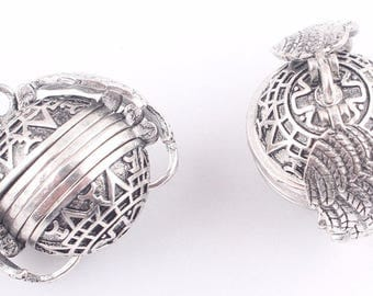 Antique silver - unique accordion round ball photo locket with wings - keepsake pendant - memorial picture holder