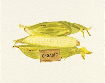 Corn on the Cob Unframed Watercolor Art Print