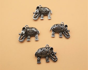 3 pcs Elephant Charms - Antique Silver, Hollow Carved Charm, Metal Charm, Animal Charm, Good Luck Charm,  Jewelry Making Findings Supplies