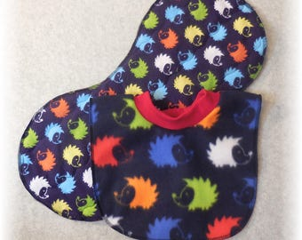 Baby Bib Pullover Fleece Hedgehog Print on Blue and Quilted Flannel Hedgehog Print Contoured Burp Cloth Set Pull over the head hegedehog bib