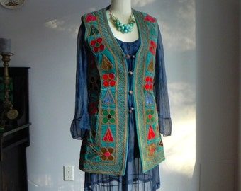 1960's, velvet vest, made in Afghanistan, women's size s-m