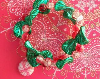 Fun Holly Holiday Bracelet, Peppermint Candy, Beads on One-Size Memory Wire, Teen Gift, by SandraDesigns