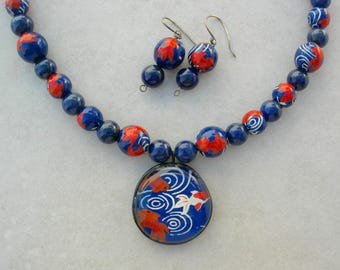 Japanese Koi Pond, Koi Washi Paper Glass Pendant & Beads, Lapis Beads, for Mother/Daughter or 2 BFFs, Necklace Set by SandraDesigns