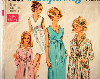 1960s Nightgown robe pattern, vintage sewing pattern, sleeveless ruffles, empire waist sleepwear, Simplicity 7957, misses size 14, bust 36