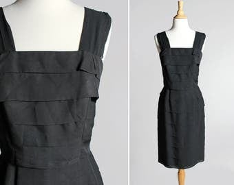 Vintage 1960's Tiered Chiffon Party Dress - 60s Black Cocktail Straight A-line Dress Sleeveless Ruffle Fitted LBD - Size Medium 6/8