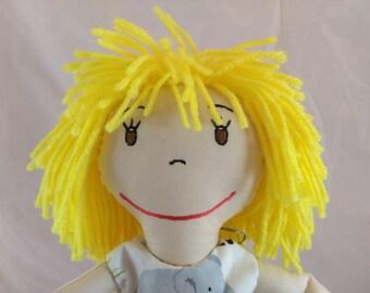 Artisan Rag Doll, Yellow Hair Rag Doll,Removable Clothes,Rag Doll,Fabric Doll, Stuffed Doll,Plush Doll, Rag Dolls, Uncommon Rag Doll