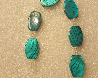 1 strand turquoise black swirled squared/oval flat beads, 6 count