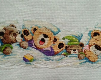 New Finished Completed Cross Stitch - Brother Bear - A16
