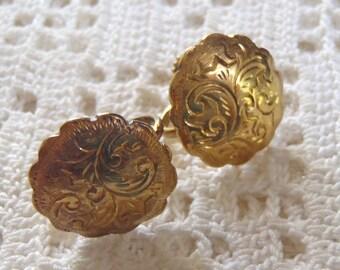 Vintage Earrings Screw Backs WFS Gold Wash Sterling Silver