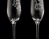 Dragon Design Personalized Wedding Toasting Glass Set