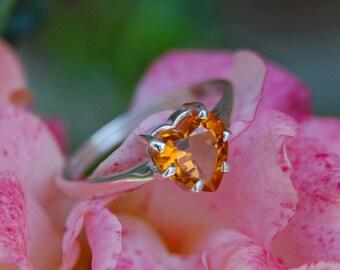 Jaffa - Diamond Alternative reclaimed earthmined Citrine Heart gemstone ring, silver ring, heart gemstone, gift for her, promise ring, women