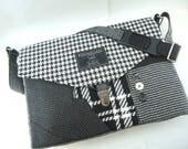 Black and White Womens Messenger Bag mens Messenger bag satchel canvas leather wool laptop Messenger bag Laptop  upcycled bag Ready to Ship