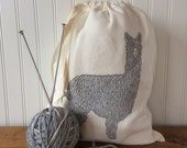 Knitting Project Bag, Organic Linen Drawstring Bag, Light Gray Alpaca Design